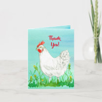 White Leghorn Chicken Thank You Card