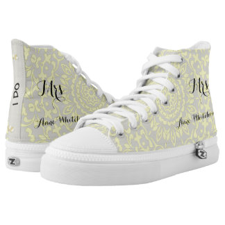 White Lemon Lacy Print Personalized Brides Wedding High-Top Sneakers