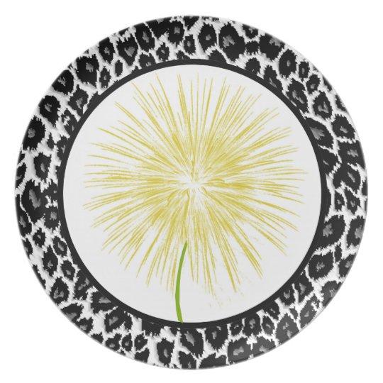 White Leopard Design Dinner Plate