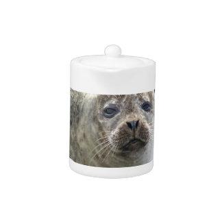 White Leopard Seal Teapot