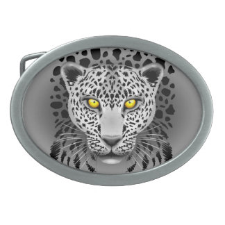 White Leopard with Yellow Eyes Belt Buckles