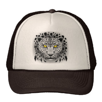 White Leopard with Yellow Eyes Hats
