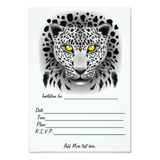 White Leopard with Yellow Eyes Invitations