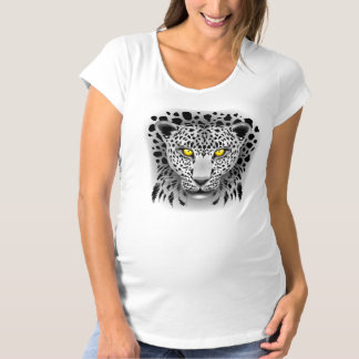 White Leopard with Yellow Eyes Maternity T_Shirt Maternity T-Shirt