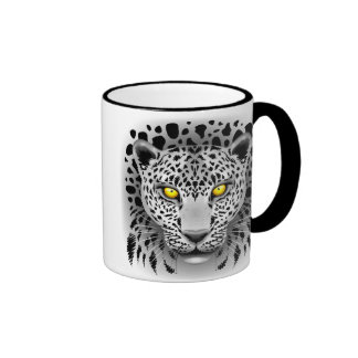 White Leopard with Yellow Eyes Mugs