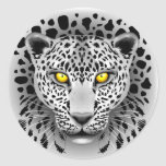 White Leopard with Yellow Eyes Round Stickers