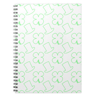 White Leprechaun Hat and Clover Pattern Notebook