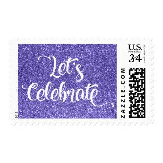 White Let's Celebrate Type, Purple Faux Glitter Postage