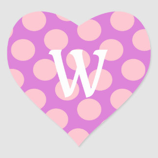 White Letter W on Pink Dots Heart Stickers