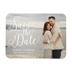 White Lettered Overlay | Save The Date Magnet at Zazzle