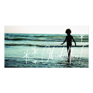 White Lettering Oh What Fun Holiday Photo Card