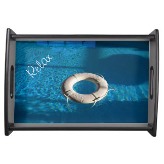 White Life Ring Poolside Serving Tray