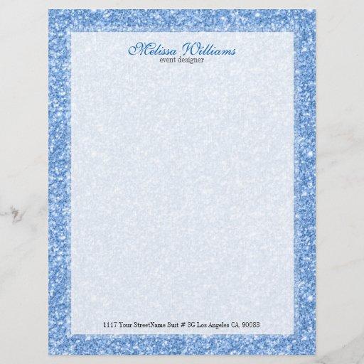 White  & Light Blue Glitter Texture Letterhead