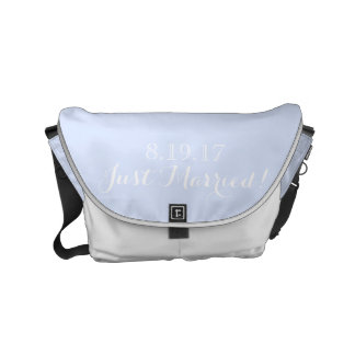 White Light Blue Wedding Modern Chic Just Married Small Messenger Bag