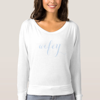 White Light Blue Wedding Wifey Modern Chic T-shirt