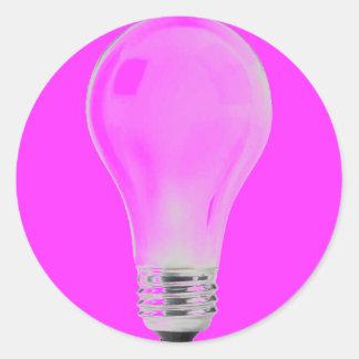 WHITE LIGHT BULB CLASSIC ROUND STICKER