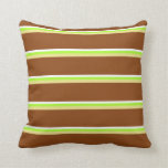 [ Thumbnail: White, Light Green, Tan, and Brown Lines Pillow ]