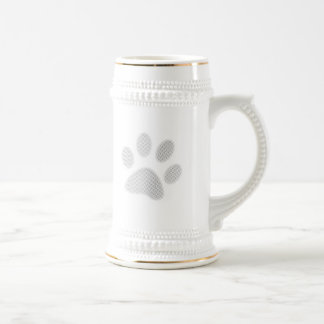 White/Light Grey Halftone Paw Print Beer Stein