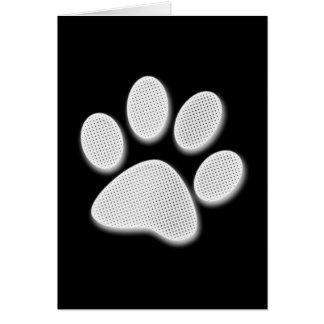 White/Light Grey Halftone Paw Print Card