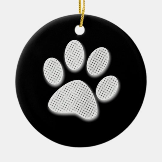 White/Light Grey Halftone Paw Print Ceramic Ornament