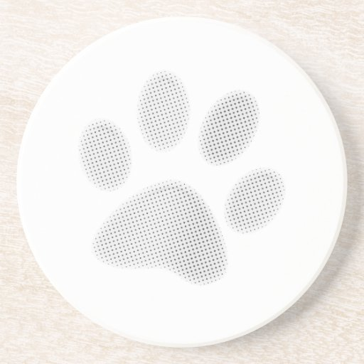 White/Light Grey Halftone Paw Print Drink Coasters