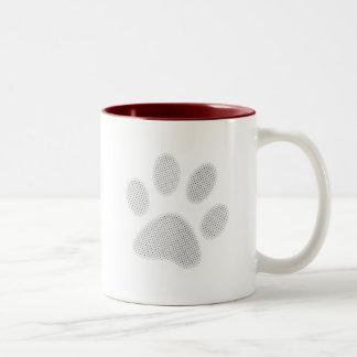 White/Light Grey Halftone Paw Print Coffee Mug