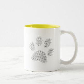 White/Light Grey Halftone Paw Print Coffee Mugs