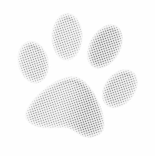 White/Light Grey Halftone Paw Print Cutout