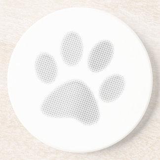 White/Light Grey Halftone Paw Print Drink Coaster