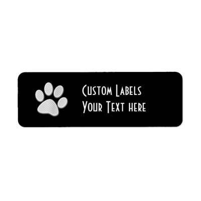 White/Light Grey Halftone Paw Print Custom Return Address Labels