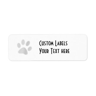 White/Light Grey Halftone Paw Print Label