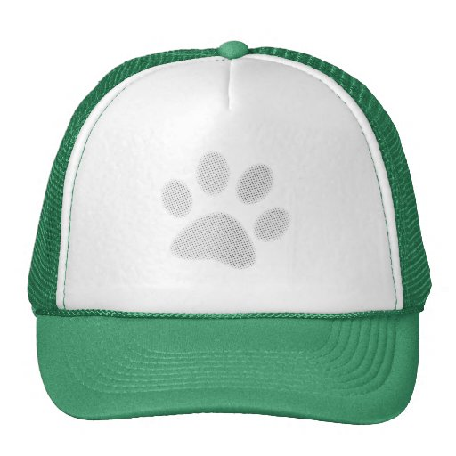White/Light Grey Halftone Paw Print Mesh Hat