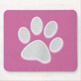 White/Light Grey Halftone Paw Print Mouse Pad