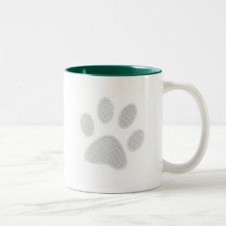 White/Light Grey Halftone Paw Print Mugs