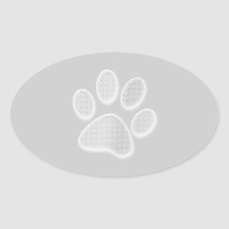 White/Light Grey Halftone Paw Print Oval Sticker