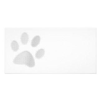 White/Light Grey Halftone Paw Print Photo Card Template