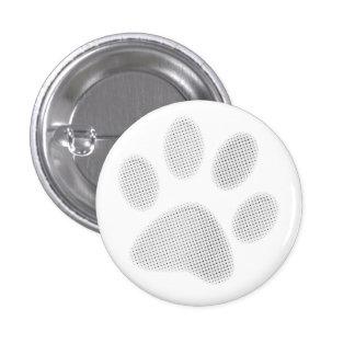 White/Light Grey Halftone Paw Print Pinback Button