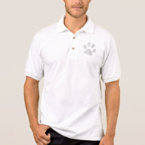 White/Light Grey Halftone Paw Print Polo Shirt
