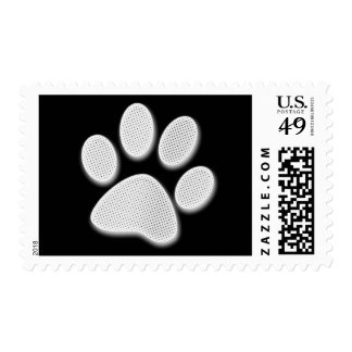 White/Light Grey Halftone Paw Print Postage