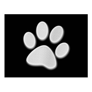 White/Light Grey Halftone Paw Print Postcard