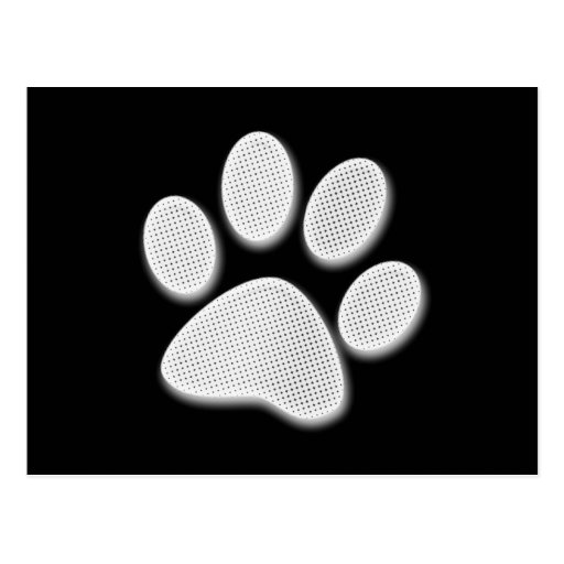 White/Light Grey Halftone Paw Print Post Cards