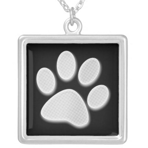 White/Light Grey Halftone Paw Print Square Pendant Necklace