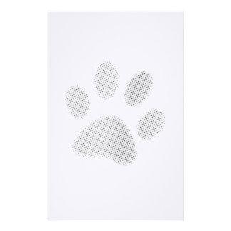 White/Light Grey Halftone Paw Print Stationery