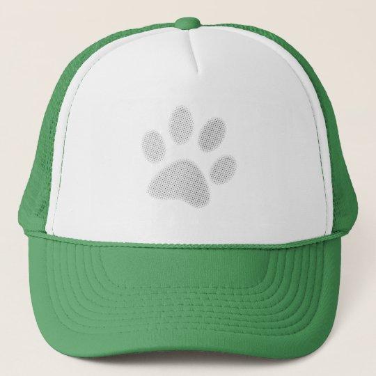 White/Light Grey Halftone Paw Print Trucker Hat