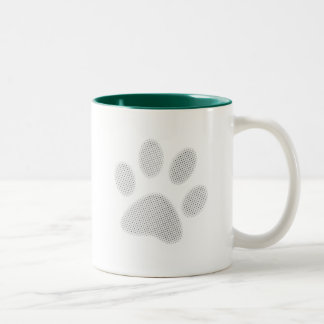 White/Light Grey Halftone Paw Print Two-Tone Coffee Mug