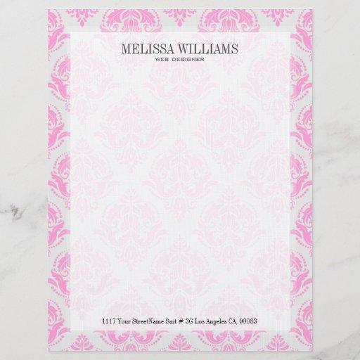 White & Light Pink Vintage Damasks Letterhead