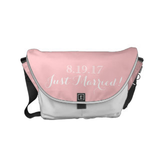 White Light Pink Wedding Modern Chic Just Married Small Messenger Bag