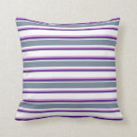[ Thumbnail: White, Light Slate Gray, Indigo & Plum Colored Throw Pillow ]