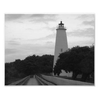 White Lighthouse BandW Photo Print