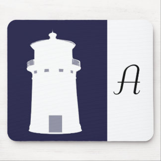 White Lighthouse in Navy Blue background. Mouse Pad